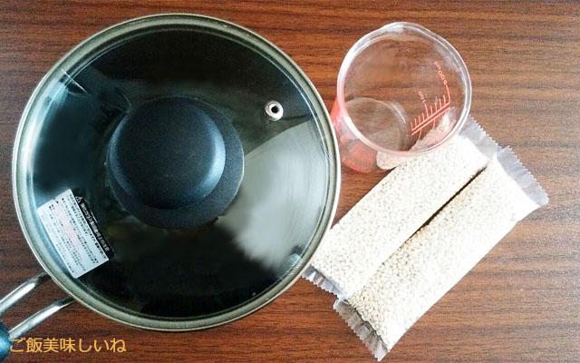 もち麦と鍋と計量カップ