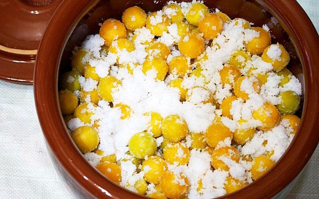 梅と粗塩を漬物容器に入れるところ
